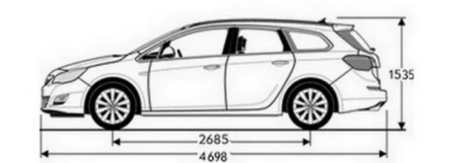 Габариты Opel Astra J универсал: