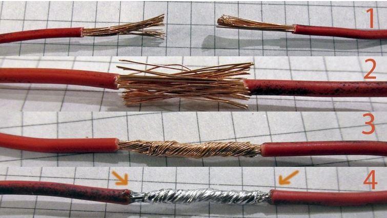 Соединение двух проводов Чтобы соединение из двух кусков провода получилось без углов, бугров и прочего шлака следуйте методу приведенному на картинке: