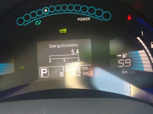 Показатель расхода, сколько км автомобиль пройдет на одном киловатте энергии приборная панель Nissan Leaf